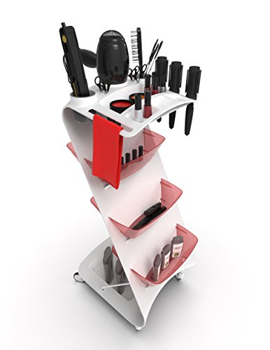 Beauty Salon Rolling Cart Zeta Hair White (White and Red) by Artmequid (Image #2)
