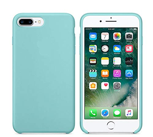 Mixtecc Premium Silicone Case for iPhone 8 Plus / 7 Plus, Rubber Gel Protective Soft Cover Thin Slim Fit (Mint Green) -