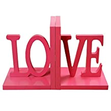 ANTIMAX Wooden Bookends Cute Pink LOVE Bookends Creative Heavy Duty Kids Adult Assemble Bookends Art Bookends for Home Office Nursery Decor (Pack of 1 Pair)