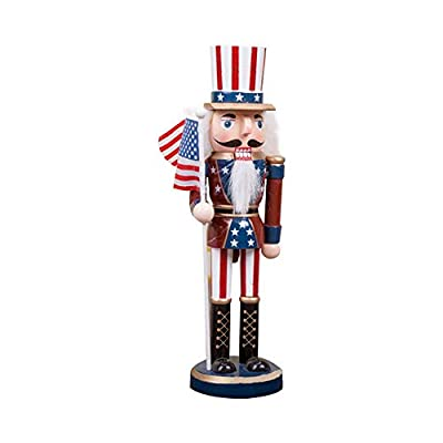 Melo-bell Uncle Sam Nutcracker Comes with American Flag Traditional Patriotic Christmas Decorative Nutcracker 100 Wood 25CM Tall