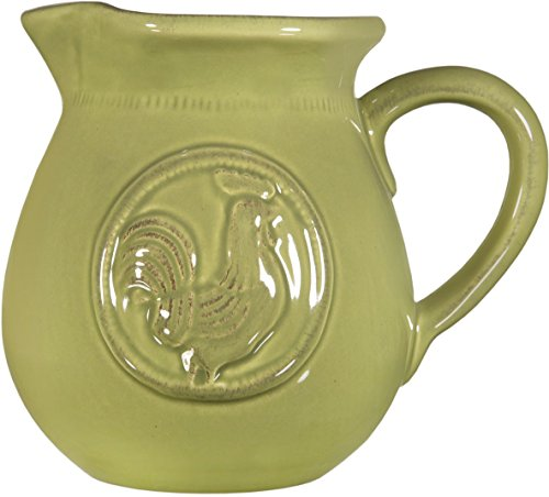 Home Essentials & Beyond Beautiful Ceramic Medallion Rooster Avacado Green Water Juice Milk Large  3.15 Quart Avacado Green Pitcher Beverage Dispenser Jar Jug Cooler Vase - (Large, Green-Medallion Rooster)