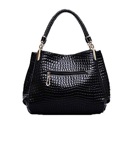 Middle Pattern Pu Shoulder Crocodile nero Bagbb Handbags Genuine scozzese Shoulder Age Leather New Fashion Handbag Donna 0wOm8yNnvP