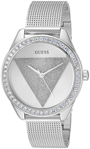 GUESS  Silver-Tone Glitz Logo Mesh Bracelet Watch. Color: Silver-Toned (Model: U1142L1)
