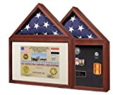 Capitol Flag Case with Certificate/Shadow Box with Cherry Finish – Holds 3' x 5' Flag