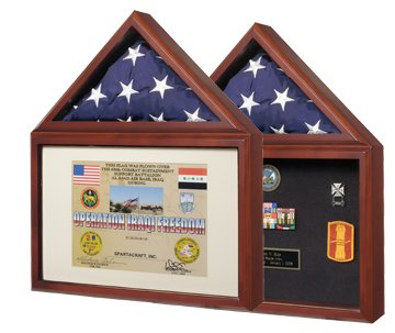 USMilitaryStuff Capitol Flag Case with Certificate/Shadow Box with Cherry Finish - Holds 3' x 5' Flag