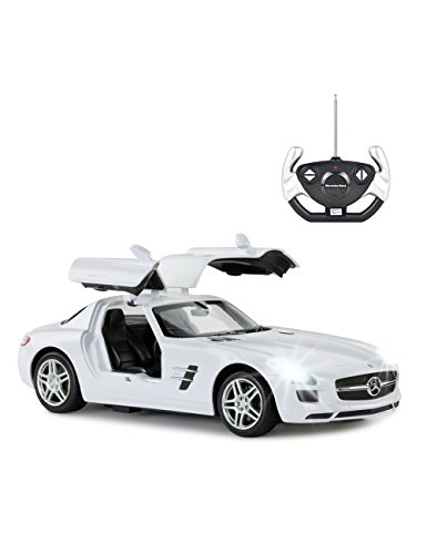Mercedes Rc Car (Rastar Remote Control Car, Mercedes-Benz SLS AMG RC Toy Model Car with Open Doors by Hand, 1:14 Scale - White for Kids)