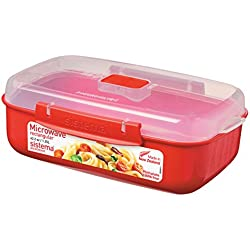 Sistema Microwave Cookware Rectangular Bowl, 42.2 Ounce/ 5.2 Cup, Red
