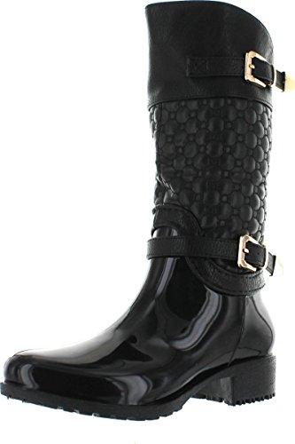 Kids Girls Link Black Knee High Side Zip Riding Winter Rain Boots-10 (Girls Toddler Riding Boots)