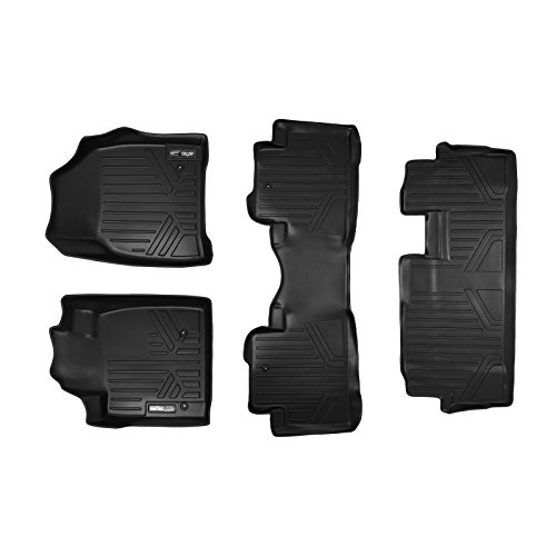 MAXLINER Floor Mats 3 Row Liner Set Black for 2009-2015 Honda Pilot