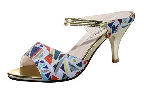 T&Mates Women's Elegant Trendy Peep-Toe Cloth Ankle-Strap Heeled Sandal