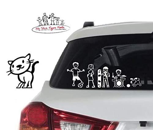 Adesivi Famiglia Stickers Adesiva per Auto My Stick Figure Family vinile adesivi auto felice gatto PC4