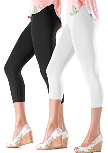 (Lush Moda Seamless Capri Length Basic Cropped Leggings - Variety of Colors - Two-Pack (Black, White))