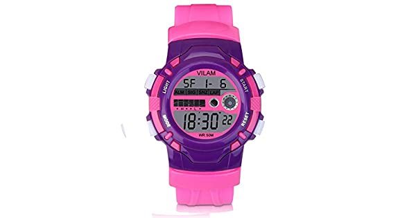 1febccad67d Kid Watch Sport Waterproof Multi Function Digital Wristwatch for Boy Girl  Children Gift Outdoor Kids Digital Sport Watch with 7 Colorful LED Lights  and ...