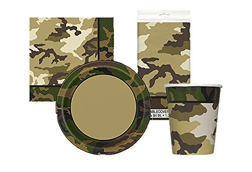 Military Camo Birthday Complete Party Tableware Pack For 16