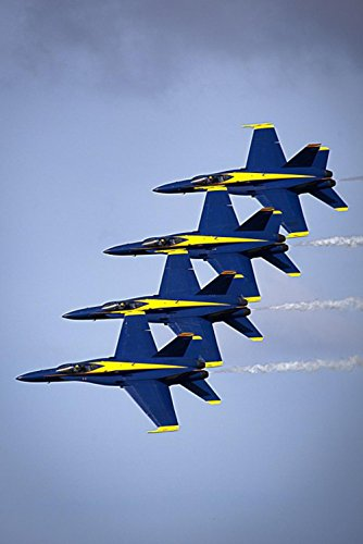 LAMINATED 24x36 Poster: Blue Angels Navy Precision Planes Training Sortie Maneuvers Demonstration Team Team Work Aircraft Jet Fighters Aerobatics Show Airplanes