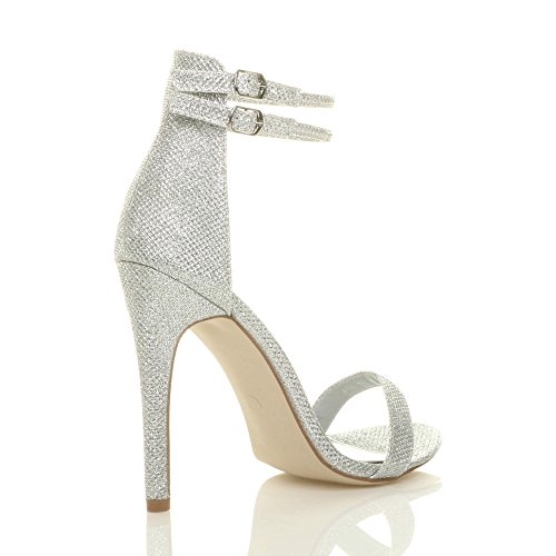 Heel Glitter Shoes Ajvani Size High Silver There Sandals Strappy Women Shimmer Barely wtt0Sq