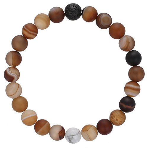 Gemstone Beaded Bracelet, BRCbeads Matte Brown Stripe Agate Balance with