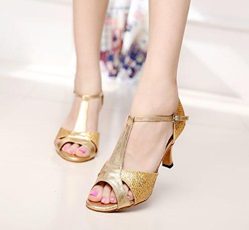 Latin T Style Gold Glitter colorful Dance QJ6208 Minishion Shoes Fashion Womens Strap Ballroom qpa18InxZw