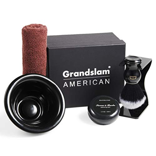 Shaving Brush Kit For Man Classic Black Shaving Soap Bowl/Mug and Brush + Shaving Razor Hodler Stand and Natural Shave Soap Perfect for Men Gift ()