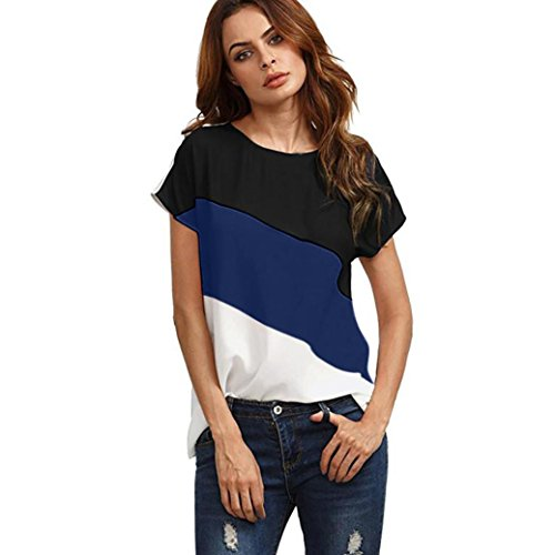 Boyfriend Crop Pant - 2018 Women's Color Block Blouse Chiffon Short Sleeve Casual Shirts Tunic Tops by Topunder (Dark Blue, Large)