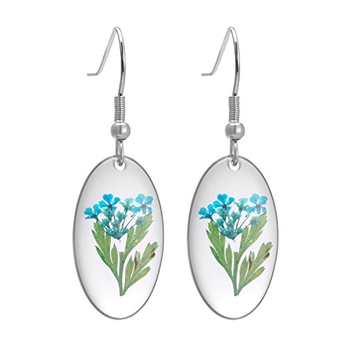 FM FM42 Multicolor Natural Dried Pressed Real Flowers Oval Hook Drop Earrings (4 Colors)