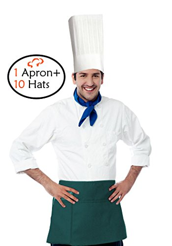 TigerChef TC-20267 Hat and Apron Kit, Includes 3 Pocket Waist Apron and 10 Disposable 12 inch Paper Chef Hats for Commercial Restaurant Home, Deep Green (12 Inch Chef Hats)
