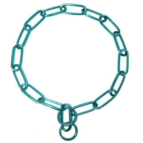 Platinum Pets Coated Fur Saver Chain Training Collar, 25-Inch by 4mm, Teal by Platinum Pets