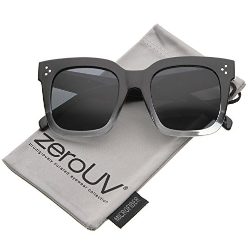 zeroUV - Modern Two-Toned Bold Frame Square Horn Rimmed Sunglasses 50mm (Black-Clear Fade / - 50mm Size Sunglasses