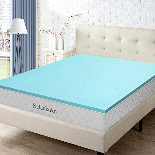 Nelaukoko 3 Inch Memory Foam Mattress Topper Twin Bed, Gel Mattress Pad Memory Foam