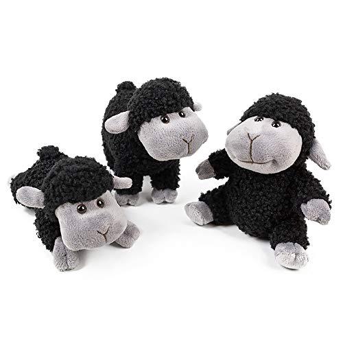FRANKIE ZHOU Stuffed Animal Sheep Lovely Lamb Plush Soft Toys 3Pcs(Sitting, Standing, Kneeling) Best Gift for All Black]()