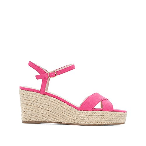 La Redoute Collections Womens Sandals with Crossover Straps and Rope Wedge Sole Fuchsia Pink