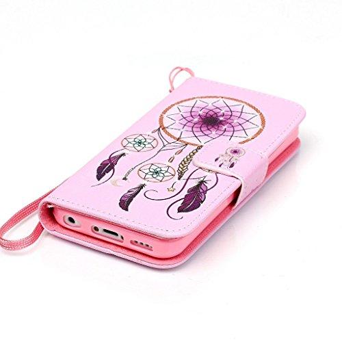 Rosa Campanula Design schutzhülle für Apple iPhone 5C Hülle,PU Leder Wallet Handytasche Flip Case Cover Etui Schutz Tasche mit Integrierten Card Kartensteckplätzen und Ständer Funktion für Apple iPhon