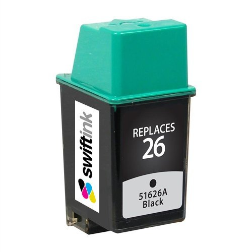 LD © Remanufactured Replacement for Hewlett Packard 51626A (HP 26) Black Inkjet Cartridge for use in HP Apollo P1200, DesignJet 200, 220, 600, Deskjet 1st, Plus, 400, 400L, 420, 420C, 500, 500C, 510, 520, 540, 540C, 550, 550C, 560, 560C, DeskWriter 1st, C, C510, C520, C540, C550, C550C, C560, C560C, 510, 520, 520C, 540, 540C, 550, 550C, 560, 560C, FAX 200, 300, 310, 700, 750, 900, 950, and OfficeJet AIO 1st, LX, 300, 330, & 350 Printers (Inkjet 560c)