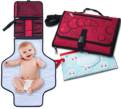SsdSun Portable Changing Pad - Lightweight and Safe Travel Station Kit for Baby Diapering - Waterproof Padded Extra Long Mat - Built-in Head Pillow - Organizer with 4 Pockets - Bonus Wet Wipe Pouch