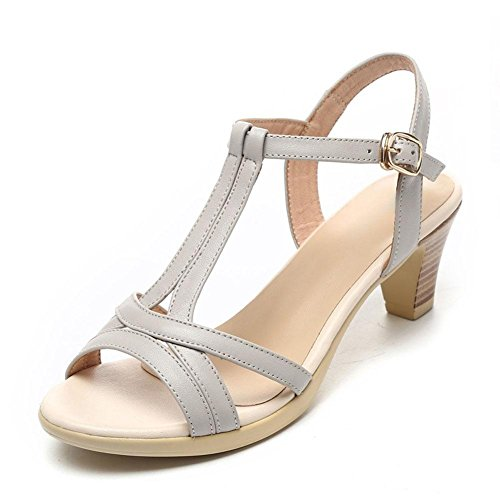 L@YC Girls Women'S Sandals In Summer With Thick Leather Leather Soft Skirt Comfortable Large Size 2017 Women'S Shoes, white, 40