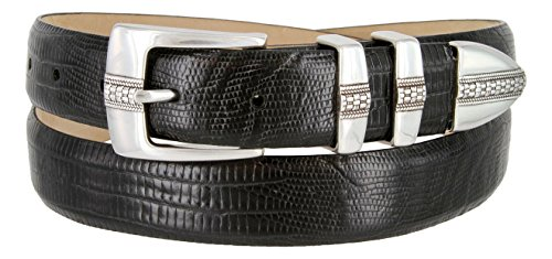 Brandon Italian Calfskin Leather Designer Dress Golf Belt for Men (38, Lizard Black)