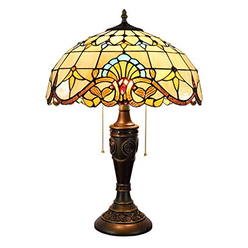GTTflower 16 Inch Tiffany Style Baroque Zipper Light Stained Glass Living Room Dining Room Bedroom Bedside Table Lamp, 40W×2, E27×2