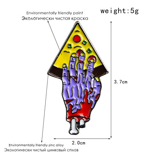 VT BigHome 6pcs/Set Zombie Hand Pizza Pin Set Enamel Brooch Pins Jacket Coat Collar Pin Badge Friendship Jewelry Gift for Best Friends Men
