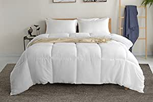 White Quilted Comforter Duvet Insert - Queen Size Duvet Insert with Corner Tabs - Hypoallergenic, Plush Silicon Fiber Down Alternative Filling, Box Stitched Comforter by Red Nomad