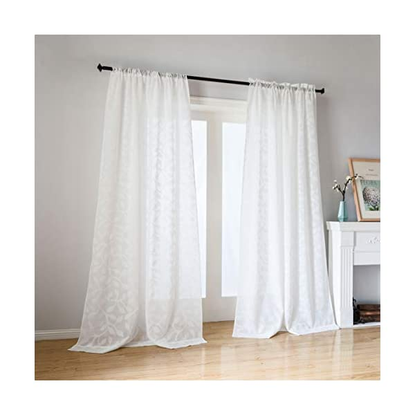 Taisier Home Countryside Style Leave Sheer Curtains Panels Rod Pockets 95 Inch Length for Glass Door Living Room and Bedroom(Off White,2 Panels)