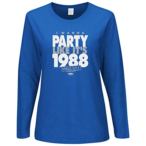 Smack Apparel LA Baseball Fans. I Wanna Party Like It's 1988. Royal Blue Ladies Shirt (Sm-5X) (Long Sleeve, Medium)