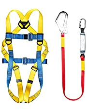 Safety Harness Fall Protection, Five Points Full Body Industrial Harness Kit, Adjustable Belt