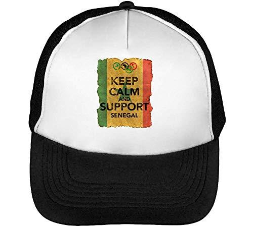 Vintage Keep Calm Support Senegal Flag Background Gorras Hombre Snapback Beisbol Negro Blanco
