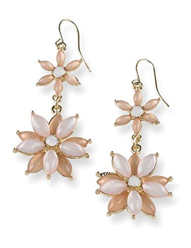 Daisy Dangle (Flower Daisy Accent Dangle Drop Earrings (Pink))