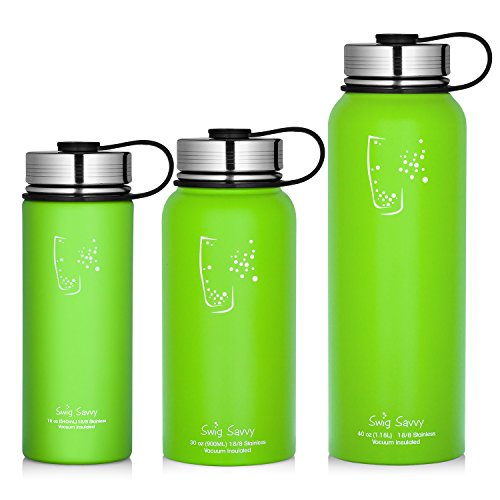 Swig Savvy Water Bottles Stainless Steel - Vacuum Insulated Water Bottle + Stainless Steel Leak & Sweat proof Cap Double Wall Thermos Flask For Hot or cold Beverages (Light Green, 30oz)