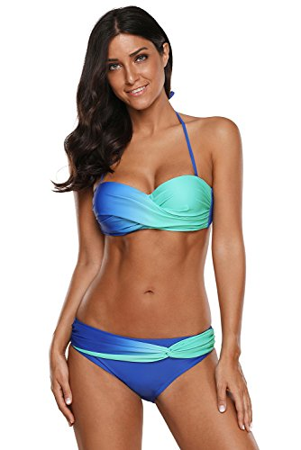 LOSRLY Women Halter Color Block Twist Bandeau Push Up Bikini Set Two Pieces Swimsuits-Blue S 4 ()