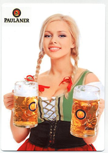 Paulaner Bier - Beautiful Blonde German Girl METAL Beer Sign - Oktoberfest