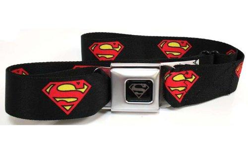 Superman Fashion Belt (Superman Logo Black Seatbelt Buckle)
