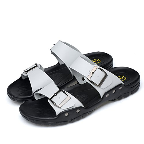 Sandali L'Estate per da con Sono Cricket in Pantofole Pelle da permeabili Uomo e Scarpe Casual Stati all'Aria Metallo Decorati Nuovi Sandali Bianca in RgIUFqw