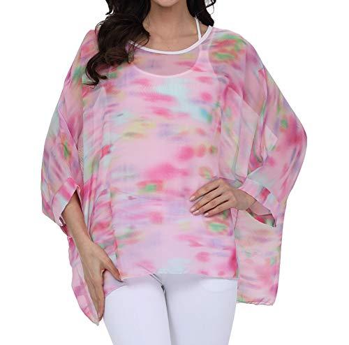 - Myosotis510 Women's Chiffon Caftan Poncho Tunic Top Cover up Batwing Blouse (Z-4278)